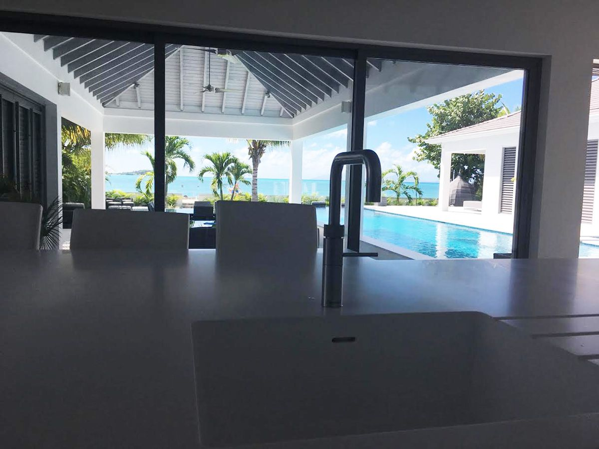 Corian solid formed sink and worktop in Antigua